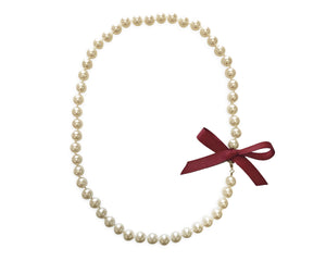 Garnet Bow Pearl Necklace