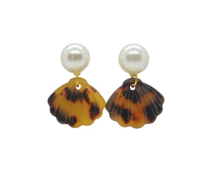 Pearl Tortoise Shell Drop Earrings