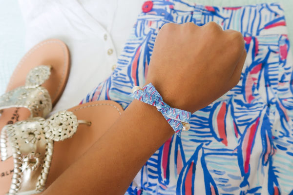 Lilly Pulitzer Inspired Bow Pearl Bracelet | Red Right Return