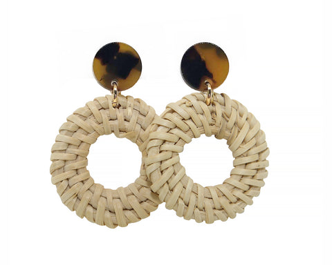 Tortoise Stud Earrings with Rattan Charm