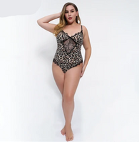 Womens Plus Size Leopard Print Nightwear Bodysuit - Fashionpheeva