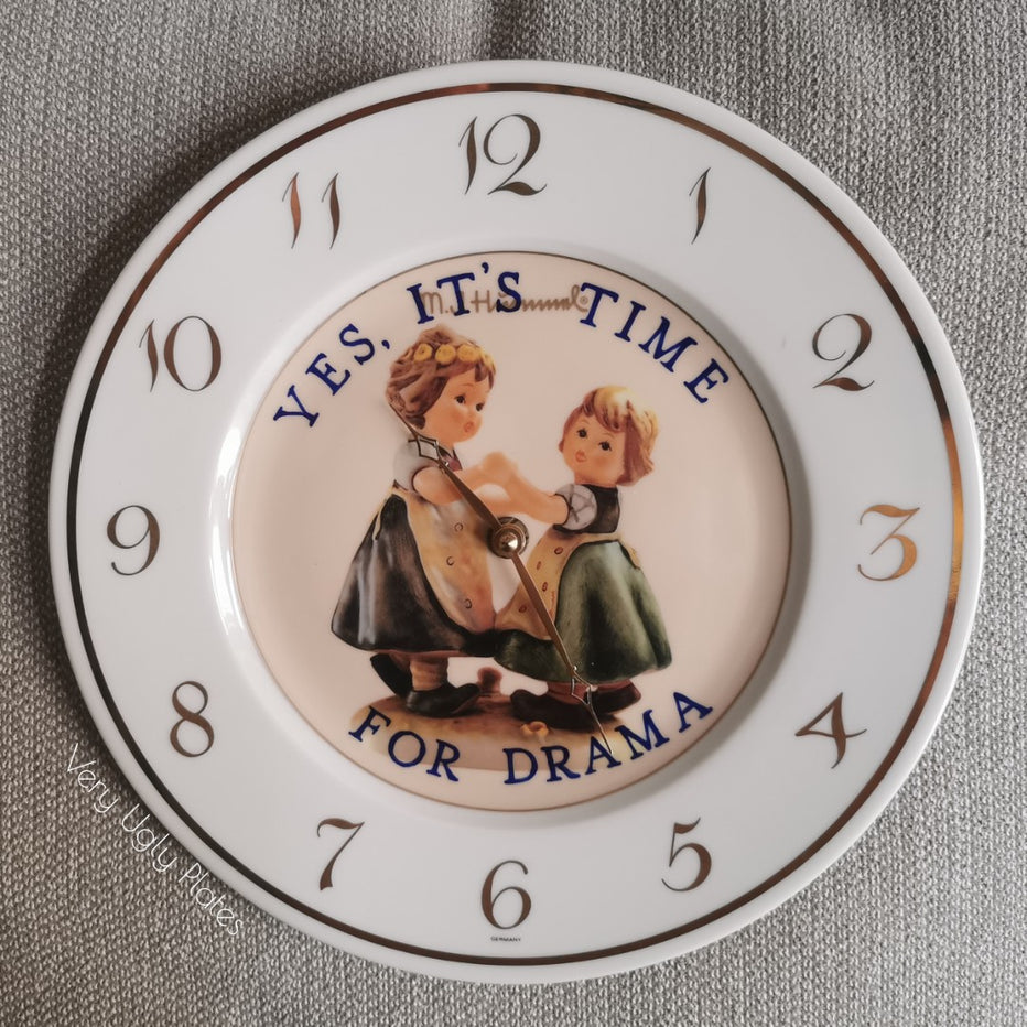 time for drama ceramic clock