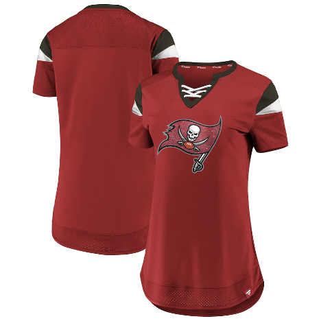 Women's Fanatics Branded Red Tampa Bay Buccaneers Draft Me Lace-Up T-Shirt