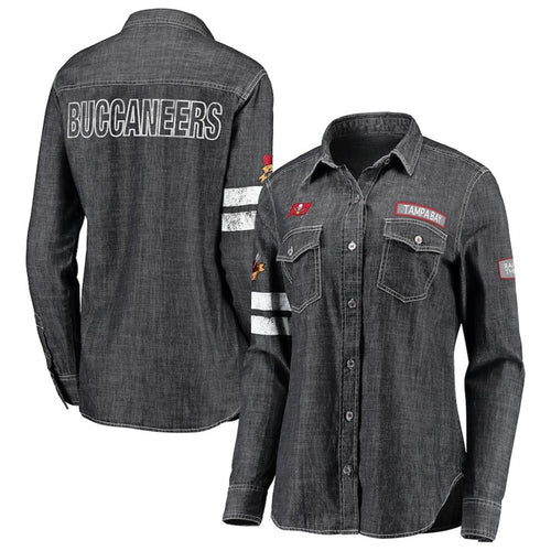 Women's WEAR By Erin Andrews Heather Black Tampa Bay Buccaneers Long Sleeve Button-Up Denim Shirt