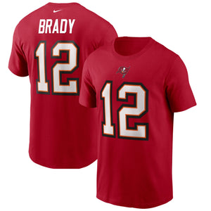Men's Nike Tom Brady White Tampa Bay Buccaneers Player Name & Number T-Shirt - Red
