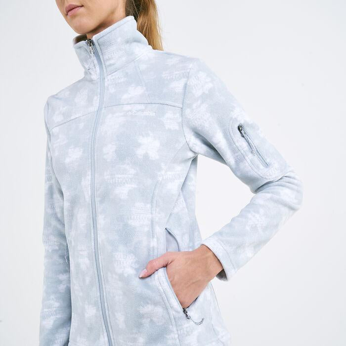 COLUMBIA Women's Fast Trek Printed Jacket - Cirrus Grey | Zip-Closed Security Arm Pocket | 100% Polyester Microfleece