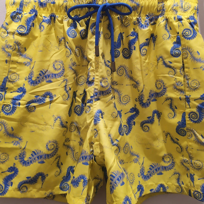 JUST NATURE Men's Swim Shorts - Yellow Sea Horse | Classic Fit | 100% Polyester