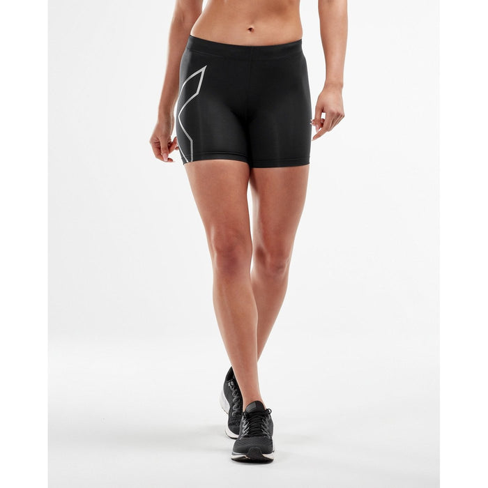 2XU Women's Compression 5 Inch Shorts - Black/Silver | Lightweight and Flexible Support | Nylon and Lycra