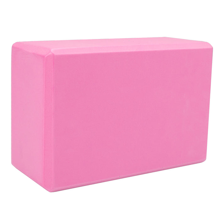JUST NATURE Pink Yoga Block | Slip-Resistant Surface | High-Density Foam