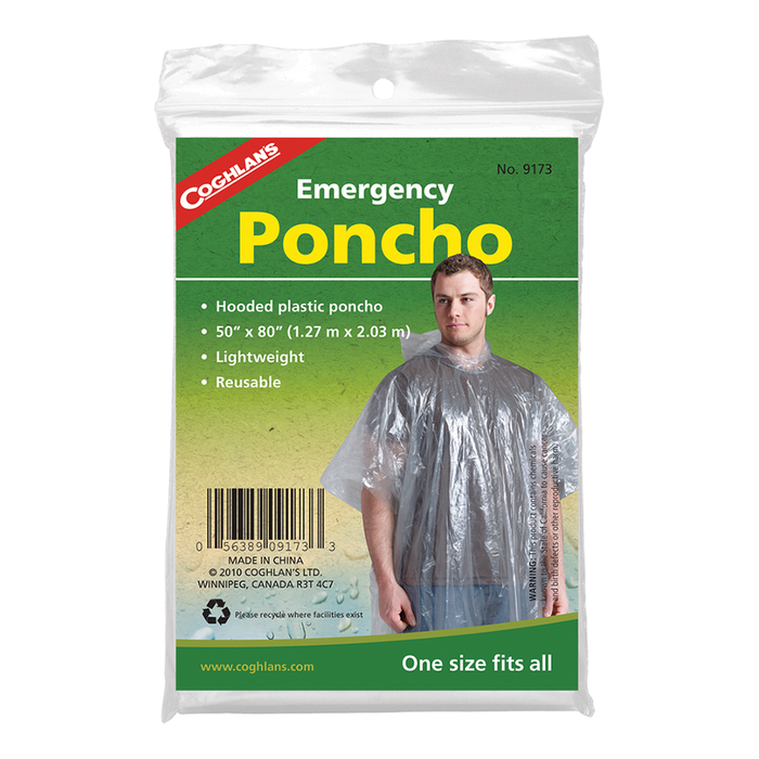 COGHLAN Emergency Poncho - Clear | Reusable | Lightweight Polyethylene