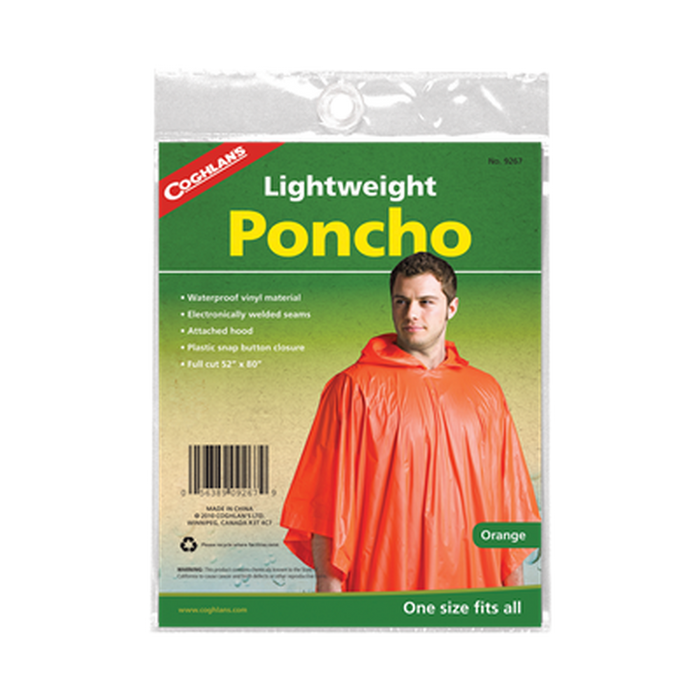 COGHLAN Poncho - Orange | Electronically Welded Seams | PVC Snap Button Closures