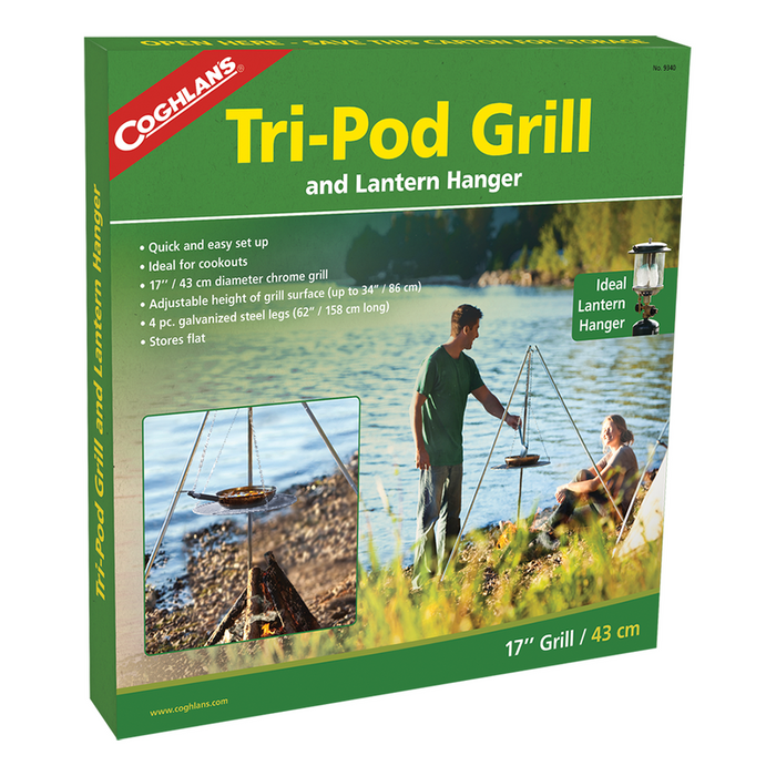 COGHLANS Tri-Pod Grill | Support Up To 30 Pounds | Adjustable Nickel-Plated Grill Surface