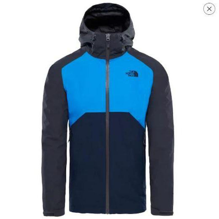 THE NORTH FACE Men's Stratos Jacket - Asphalt Grey/Bomber Blue/Urban Navy | Water Repellent | 100% Nylon