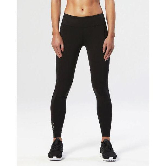 2XU Women's Fitness Compression Tights - Black/Silver | Reduced Muscle Vibration | Full Coverage Interlock Fabric