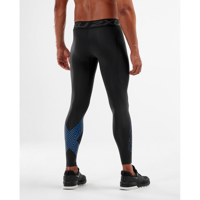 2XU Men's Accelerate Compression Tights - Black/Space Blue Arrow | Support Muscles and Reduce Fatigue | Polygiene