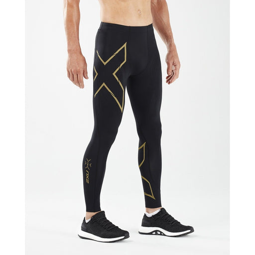 2XU Men's Muscle Containment Stamping Run Compression Tight - Black/Gold Reflective | Powerful Compression and Flexibility | Nylon and Lycra