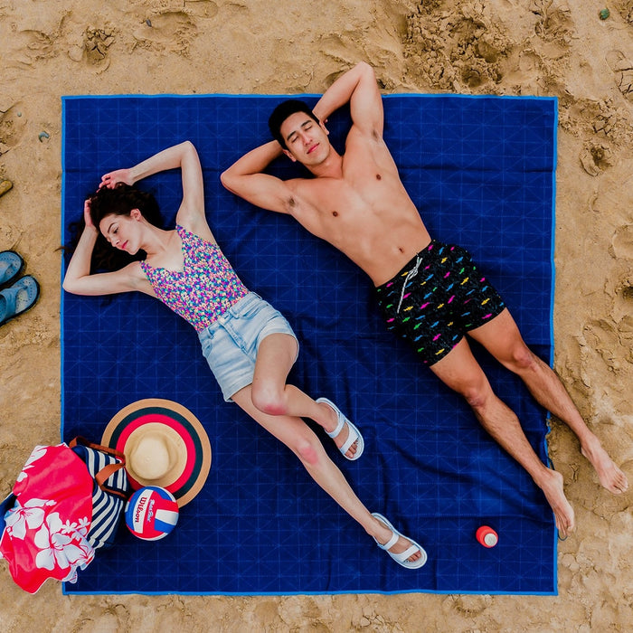CGEAR Sandlite Mat - Navy Quilted | Sand Free (Patented) Weave Tech | Mold-Free Material
