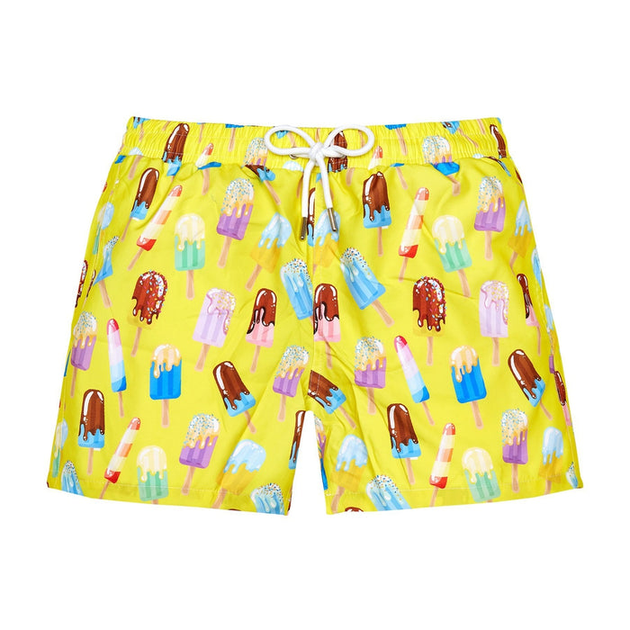 JUST NATURE Men's Swim Shorts - Treats In Yellow | Classic Fit | 100% Polyester