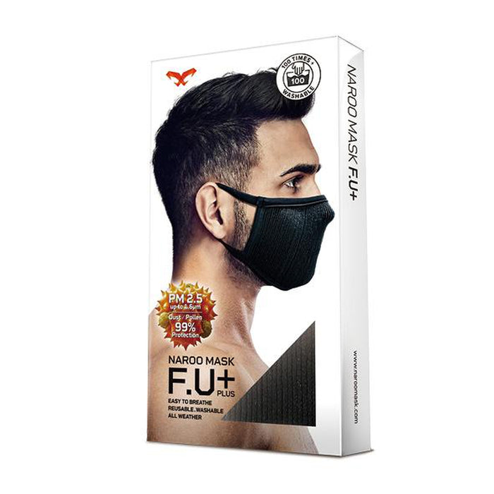 NAROO F.U. Plus Black - Small | 99% UV Protection Mask | MICRONET Filter Fabric