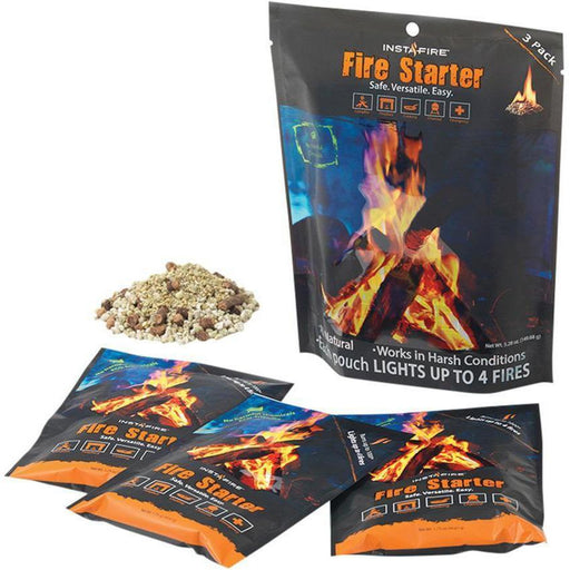 INSTAFIRE Fire Starter 3 Pack | Non-Volatile | Each Pouch Lights Up To 4 Fires