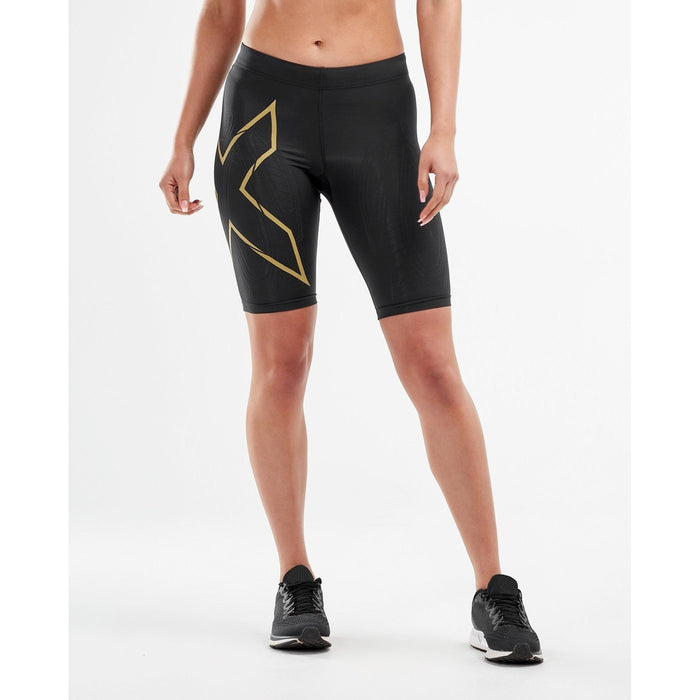 2XU Muscle Containment Stamping Run Shorts -  Black/Gold Reflective | Flexible and Breathable | Nylon and Elastane
