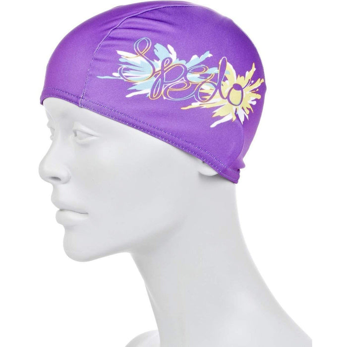 SPEEDO Polyester Printed Cap Junior - Purple | 3 Panel Construction | Chlorine Resistant Fabric