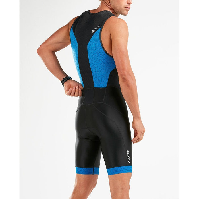 2XU Men's Perform Front Zip Trisuit - Advanced Muscle Support | Aerodynamics and Ventilation Technologies | Polyester and Elastane
