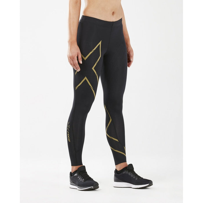 2XU Women's Muscle Containment Stamping Run Compression Tights - Black/Gold Reflective | Improved Performance And Muscle Alignment | Lightweight PWX Fabric