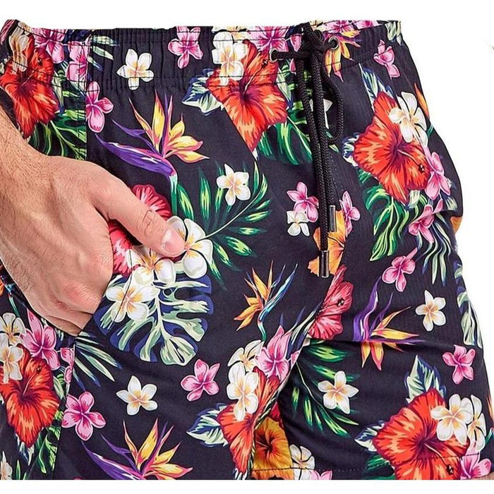 JUST NATURE Boy's Swim Shorts - Tropical Black | Classic Fit | 100% Polyester