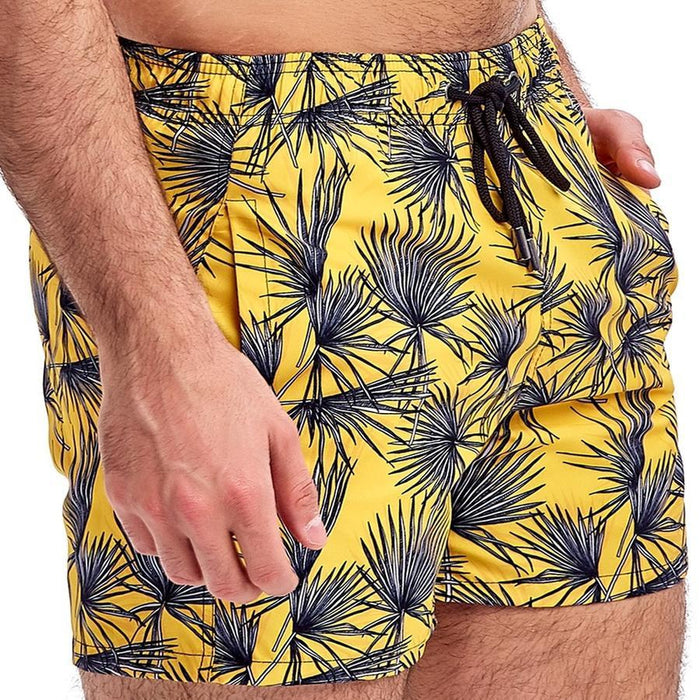 JUST NATURE Men's Swim Shorts - Yellow | Classic Fit | 100% Polyester