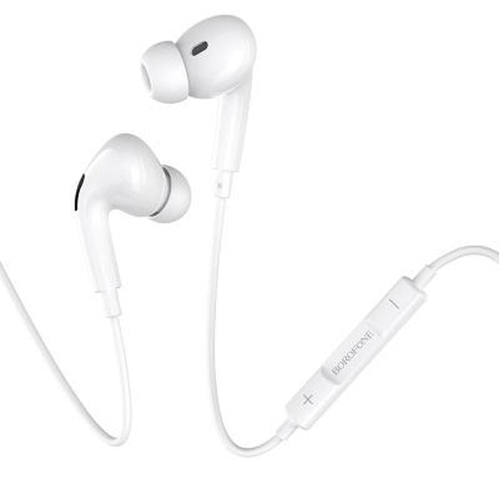 BOROFONE Pro Lighting Earphones - White | Enameled Wire ABS+TPE | 1.2 Meters