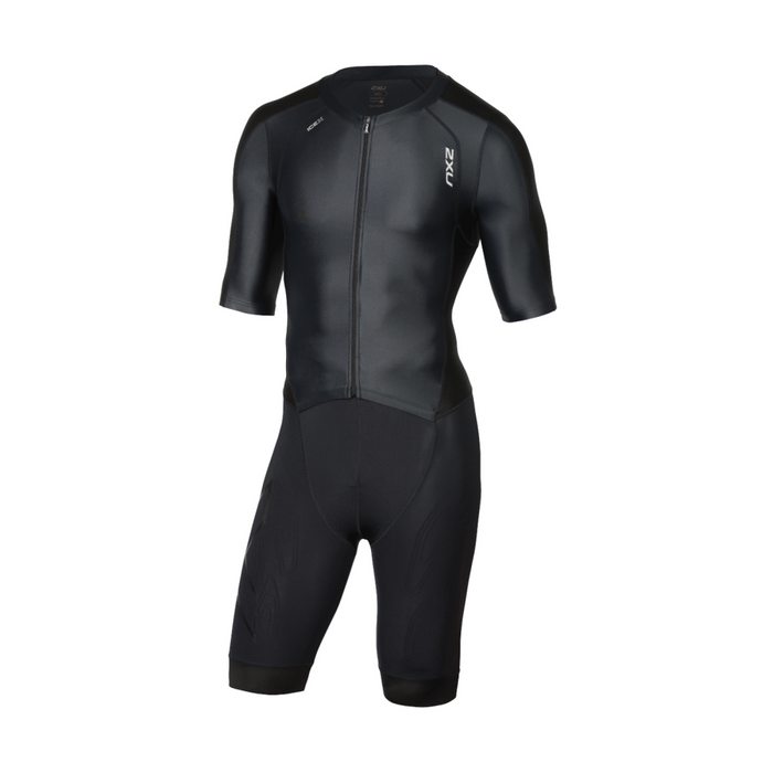 2XU Men's Compression Full Zip Sleeved Trisuit - Black/Black | Dimpled Airflow Technology | Polyester and Elastane
