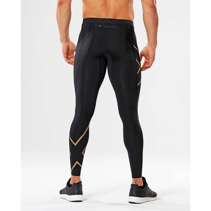 2XU Men's Muscle Containment Stamping Run Compression Tights - Black/Gold | Moisture Wicking | Nylon and Elastane
