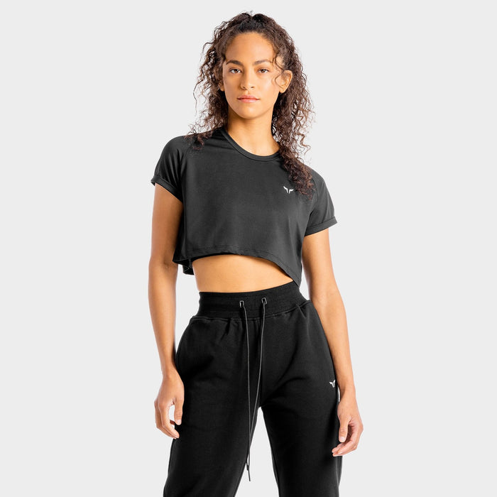 SQUAT WOLF Women's Core Crop Tee Extra Large - Onyx | 4-way Stretch Fabric | 90% Polyester and 10% Spandex