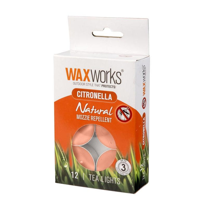 WAX WORKS Citronella Tea Lights Assorted 12 Pack | 3 Hours Burn Time | Aluminium/Paraffin/Cotton