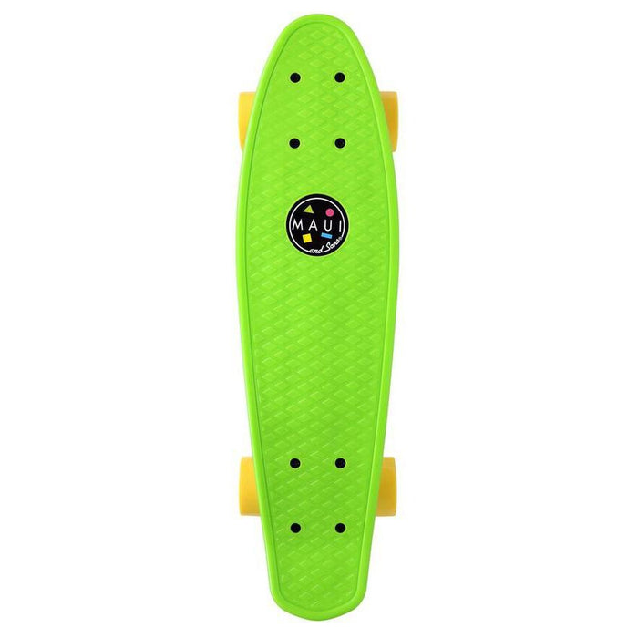 MAUI AND SONS Kid's Maui Cookie Penny Board - Lime Green | 22 Inches x 5.6 Inches PP Cruiser Deck | Polyurethane Deck