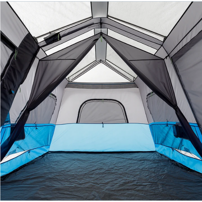 CORE EQUIPMENT 9 Person Lighted Instant Cabin Tent - Grey/Blue