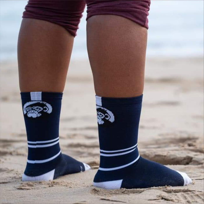 GRUMPY MONKEY Cycle Stripe - Navy/White (8-12 UK) | Premium Performance | Arch Support Strip