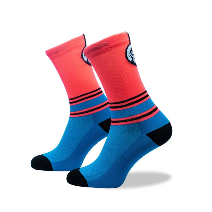 GRUMPY MONKEY Cycle Stripe - Pink/Blue (8-12 UK) | Premium Performance | Arch Support Strip