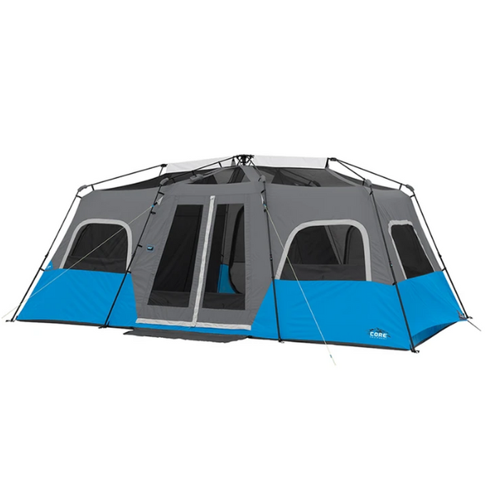 CORE EQUIPMENT Lighted Instant Cabin Tent - Grey/Blue | 12 Person Capacity | Durable 68D Polyester