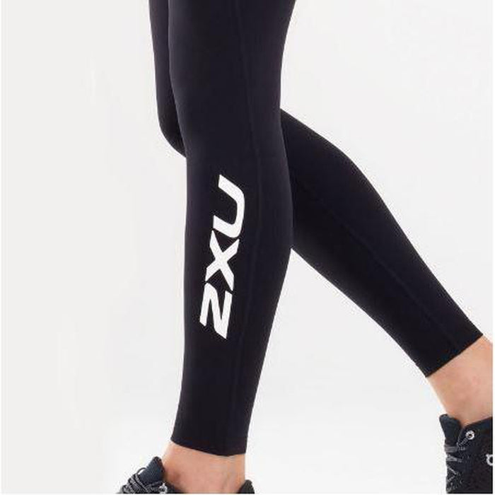 2XU Fitness New Heights Compression Tights - Black/White | Increased Agility | 62% Polyamide/38% Elastane