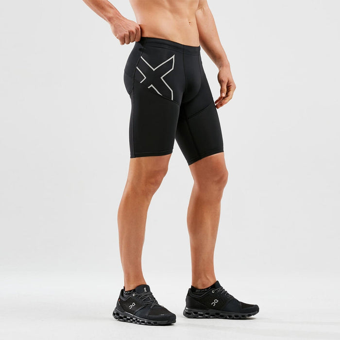 2XU Run Dash Compression Shorts - Black/Silver | Power Compression Mesh | Moisture-wicking Yarns