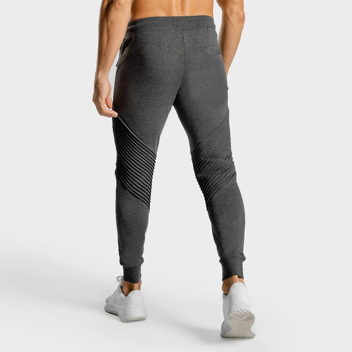 SQUAT WOLF Men's Statement Ribbed Joggers Medium - Melange Grey | Invisible Inner Moisture Absorbing Layer | Cotton/Polyester/Spandex Mix