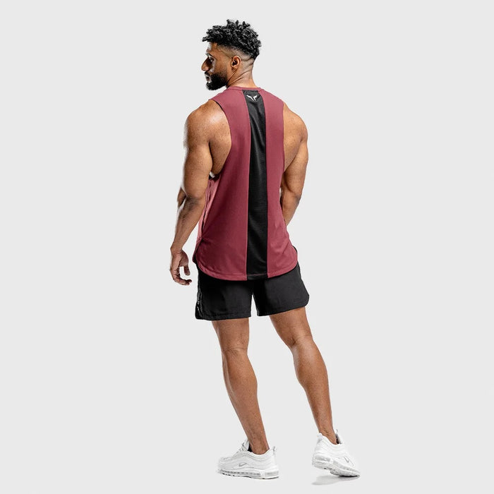 SQUAT WOLF Men's Warrior Cut Off Stringer Large - Maroon | Quick Dry | 87% High-Performance Polyester 13% Elastane