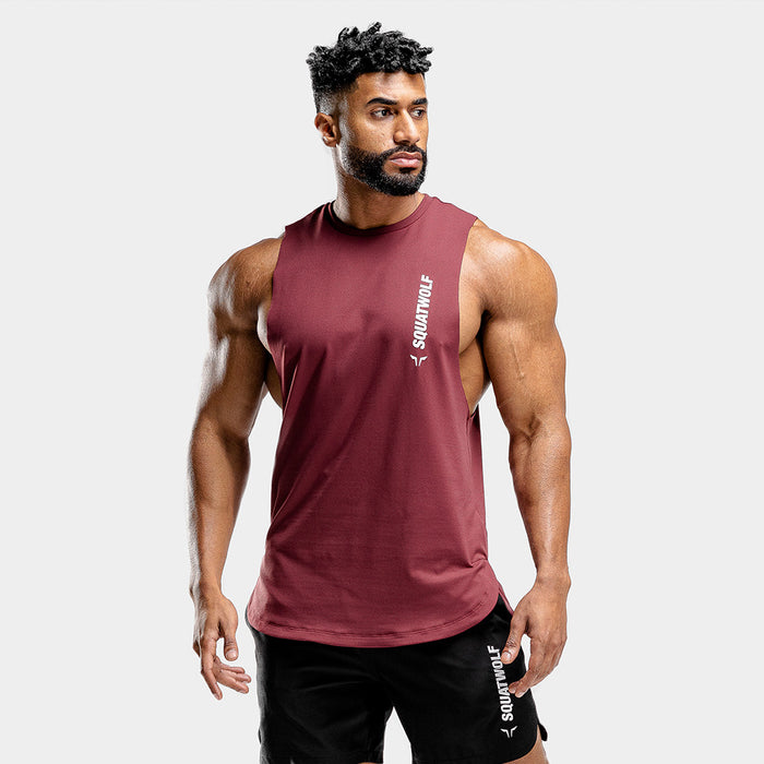 SQUAT WOLF Men's Warrior Cut Off Stringer Extra Large - Maroon | Quick Dry | 87% High-Performance Polyester 13% Elastane
