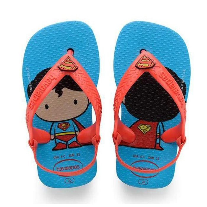 HAVAIANAS Kid's Baby Heroes - Turquoise/Strawberry | Adjustable Back Strap | Non-slip