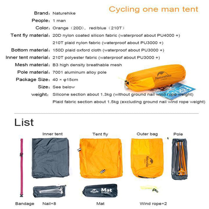 NATUREHIKE Cycling Ultralight Single Man Tent Mats - Easy to Set Up | 20D Nylon and B3 Mesh