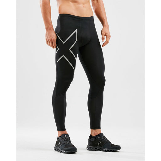 2XU Run Dash Compression Tights - Black/Silver Reflective | Powerful Compression Mesh | Large Rear Pocket