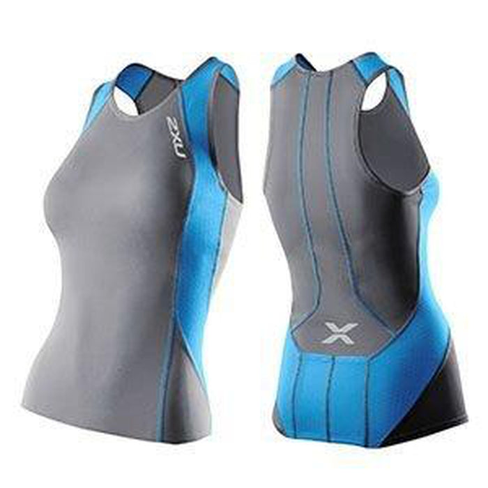 2XU Women's Perform Tri Singlet - Charcoal/Ultramarine Blue | Sensor Mesh X Ventilation Panels | Polyamide and Elastane