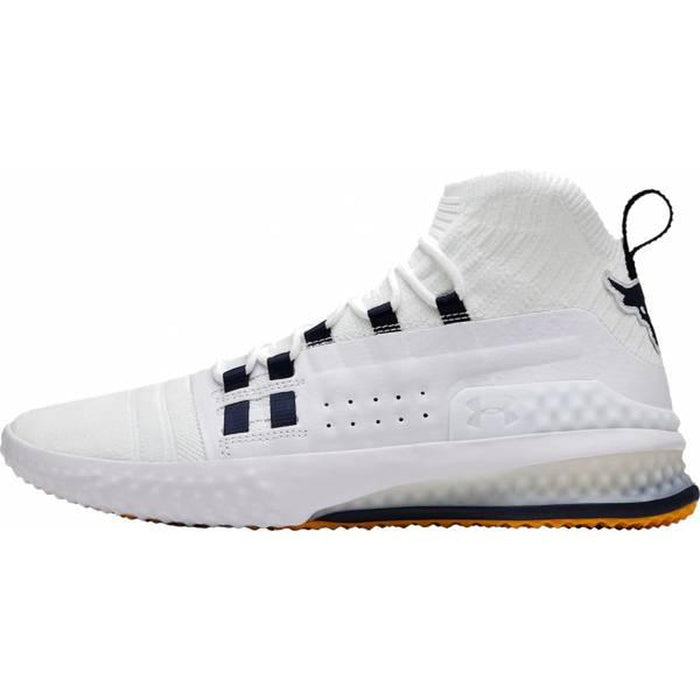 UNDER ARMOUR Men's Ua Project Rock 1 - White/White | Adjustable Lacing System And Forefoot Webbing | Synthetic